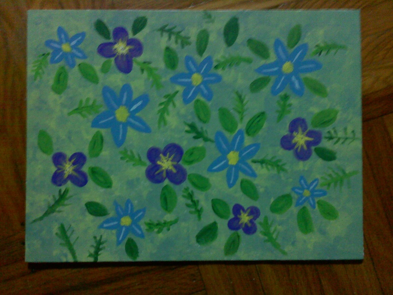 Blue and Purple Flower Pattern